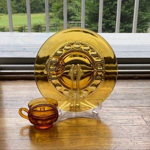 Lot of 4 Kings Crown Thumprint Amber Luncheon